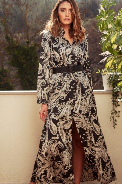 Μακρύ φόρεμα μαύρο μπέζ λαχούρι