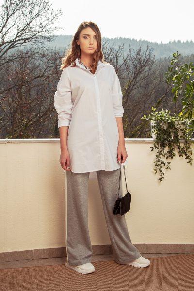 Παντελόνι φούτερ ίσια γραμμή με ρίγα στο πλάι